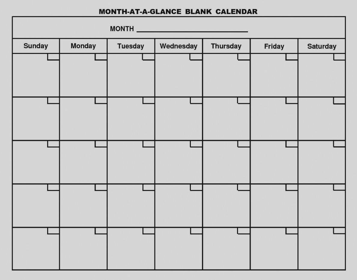 Great Month At A Glance Blank Calendar Template Monthly 2017-Month At A Glance Blank Calendar Printable