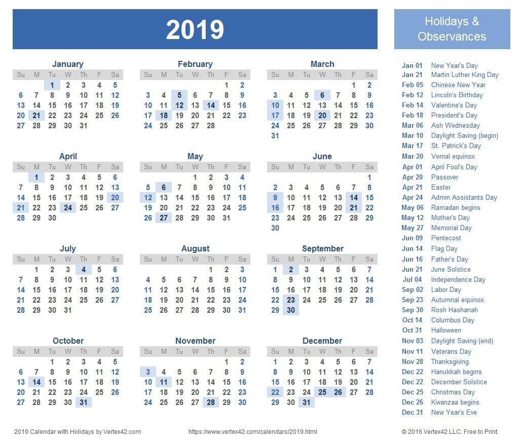 Hebrew Calendar 2019-2020 Calendar Printable Major Jewish Holidays