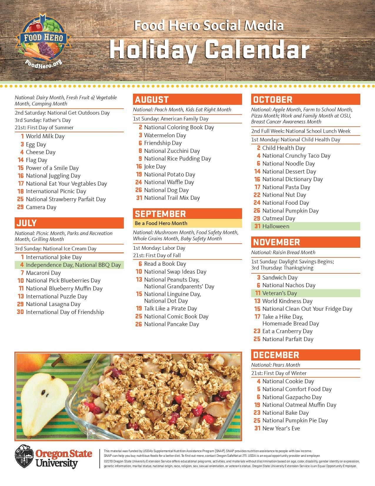 Holiday Calendar | Food Hero-Food Day Schedule Today Holidays