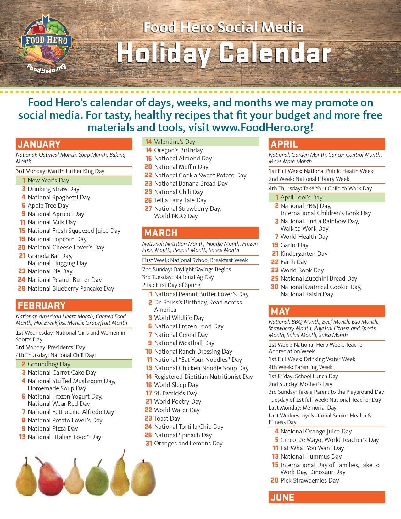 Holiday Calendar | Food Hero-National Monthly Calendar For Food