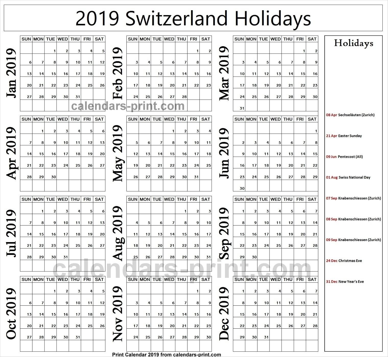 Holidays Calendar 2019 Zurich • Printable Blank Calendar-Bank Holidays In Zurich
