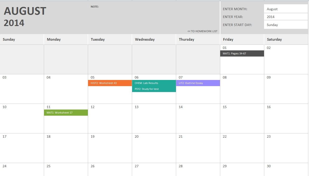 Homework Calendar Template-Monthly Homework Calendar Printable