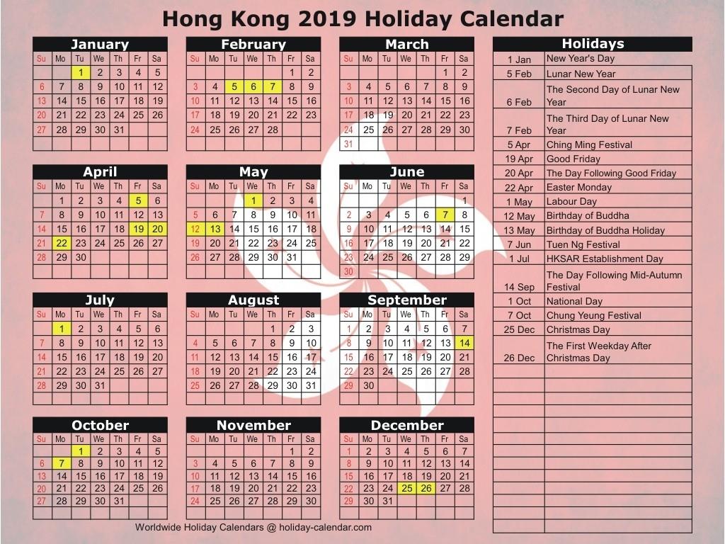 Hong Kong 2019 / 2020 Holiday Calendar-January 2020 Calendar Hk