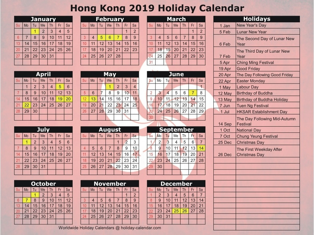 Hong Kong 2019 / 2020 Holiday Calendar-January 2020 Hong Kong Calendar
