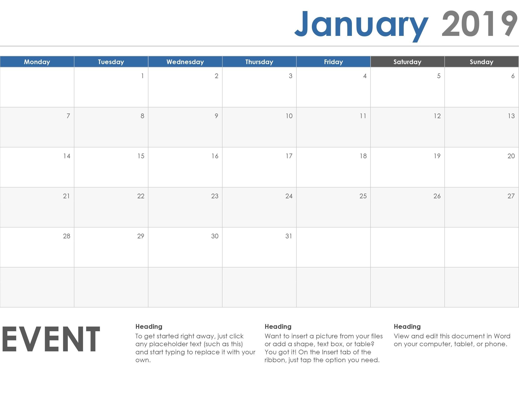 Horizontal Calendar (Monday Start)-Calendar Template Monday Start