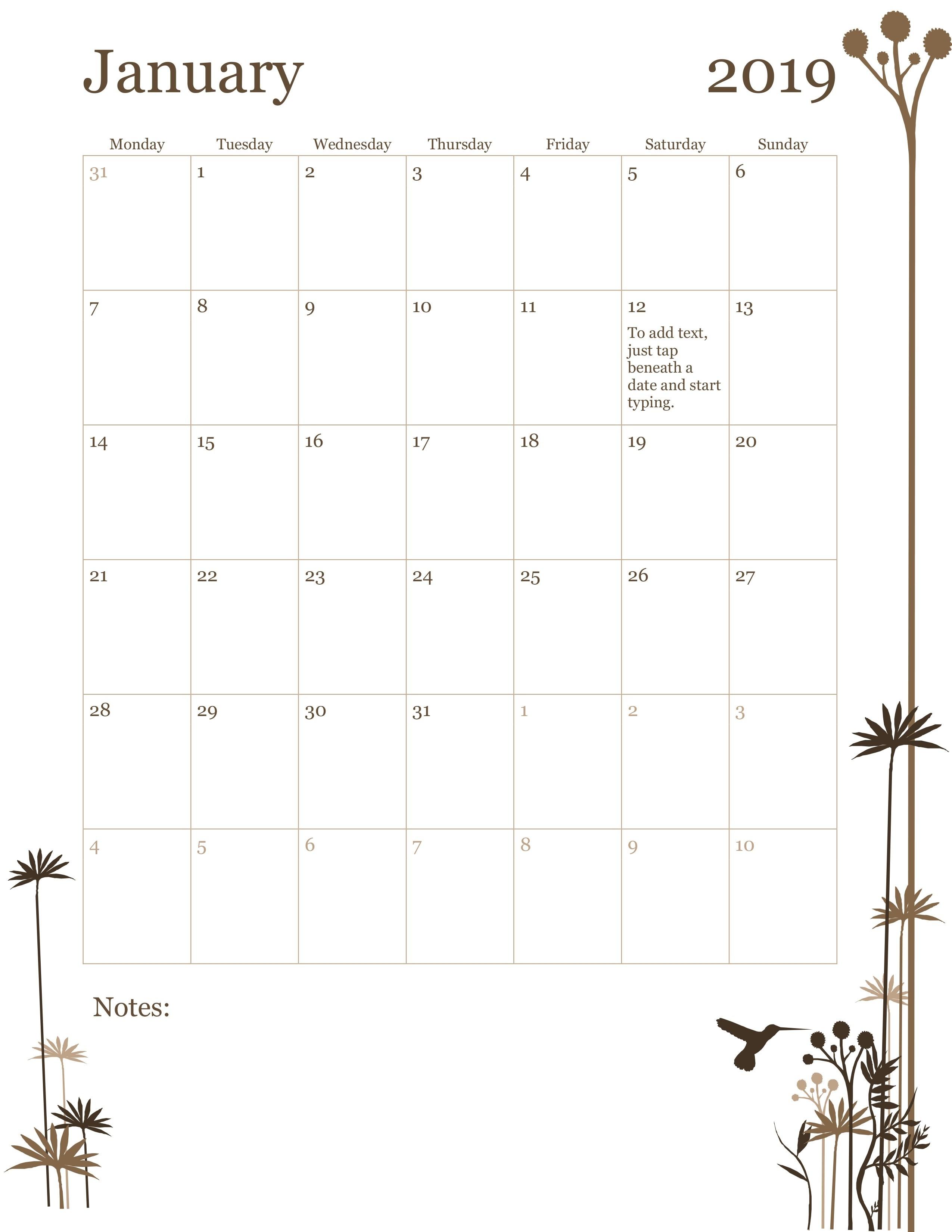 Horizontal Calendar (Sunday Start)-Monthly Calandar Template Start From Sunday