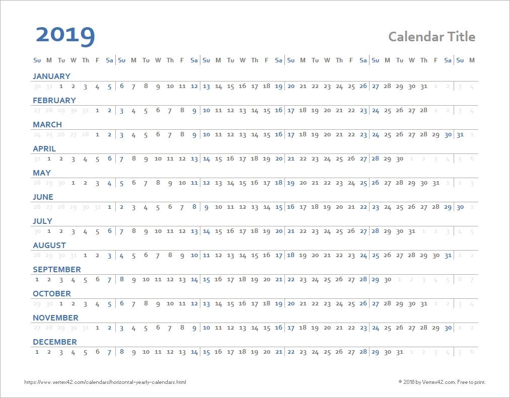 Horizontal Yearly Calendar Templates-Calendar Templates By Vertex42.com