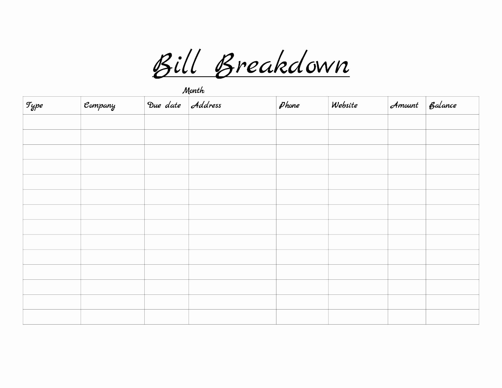How To Make A Spreadsheet For Monthly Bills Of Printable-List Of Bills Template