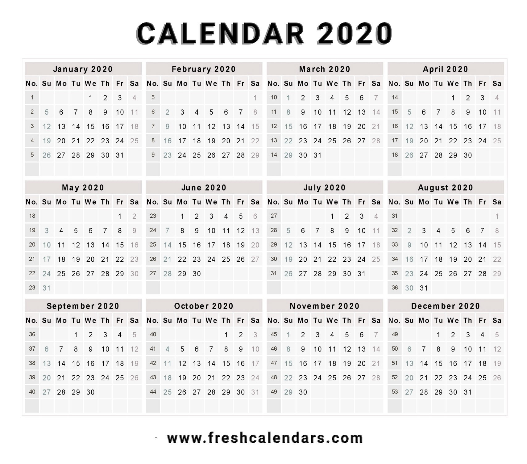 Blank 2020-20 Calendar Printable