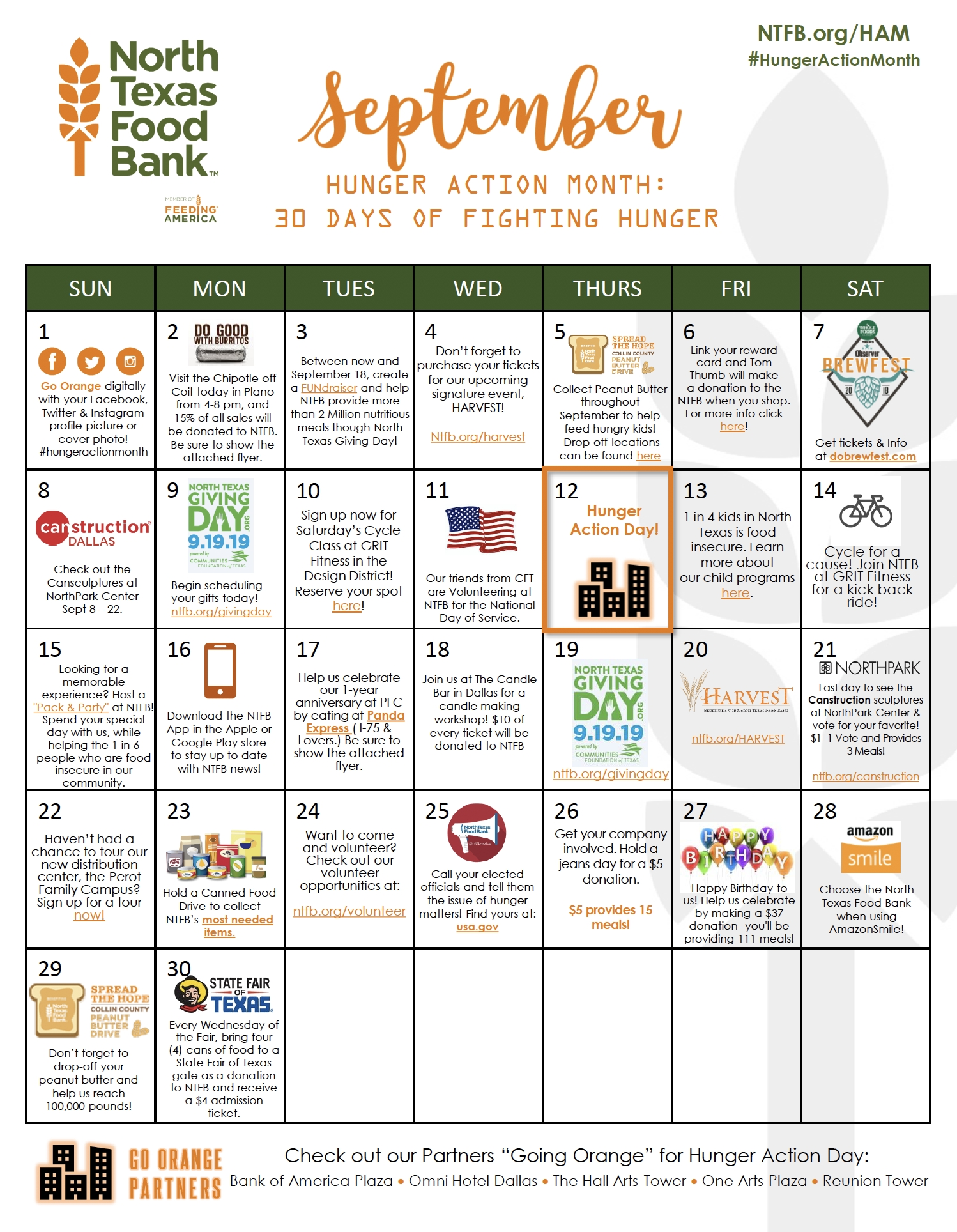 Hunger Action Month - Event & Campaign - North Texas Food Bank-Calander Of Monthly Food Days