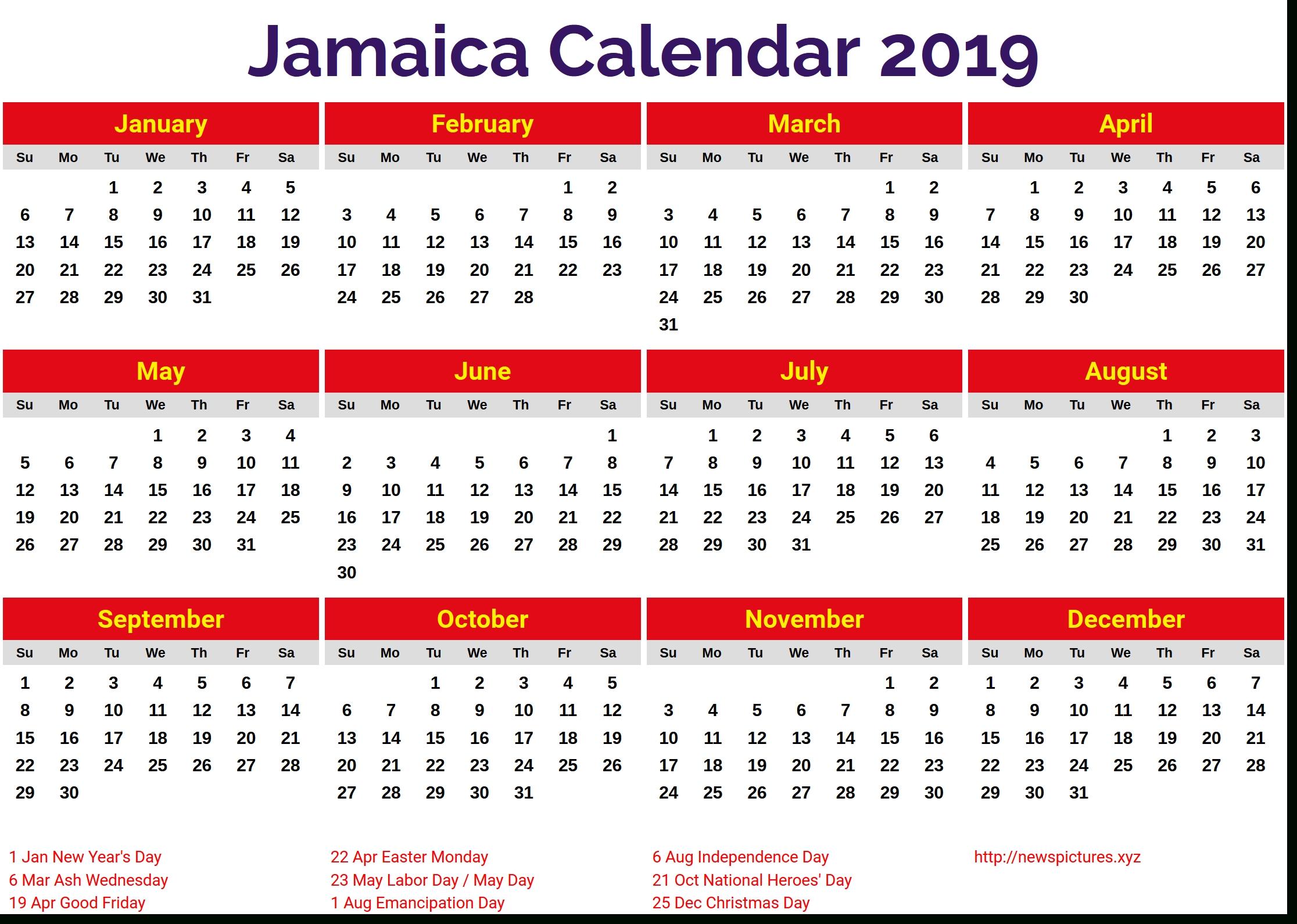 Image For Jamaica 2019 Calendar | Pink Wedding | Holiday-Jamaica Public Holidays 2020 Printable