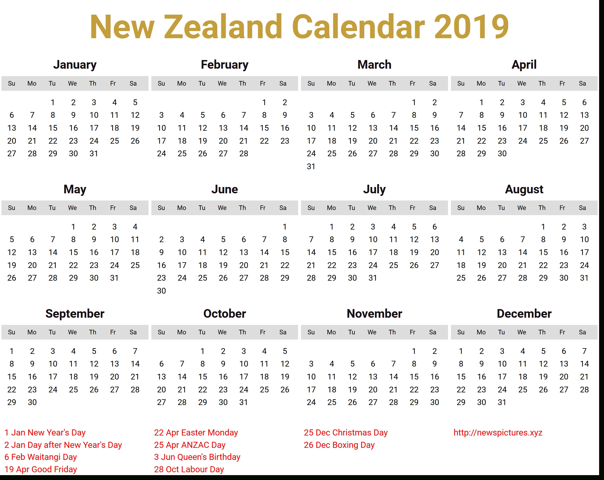 Image For New Zealand Calendar 2019 Download | Bear-January 2020 Calendar New Zealand