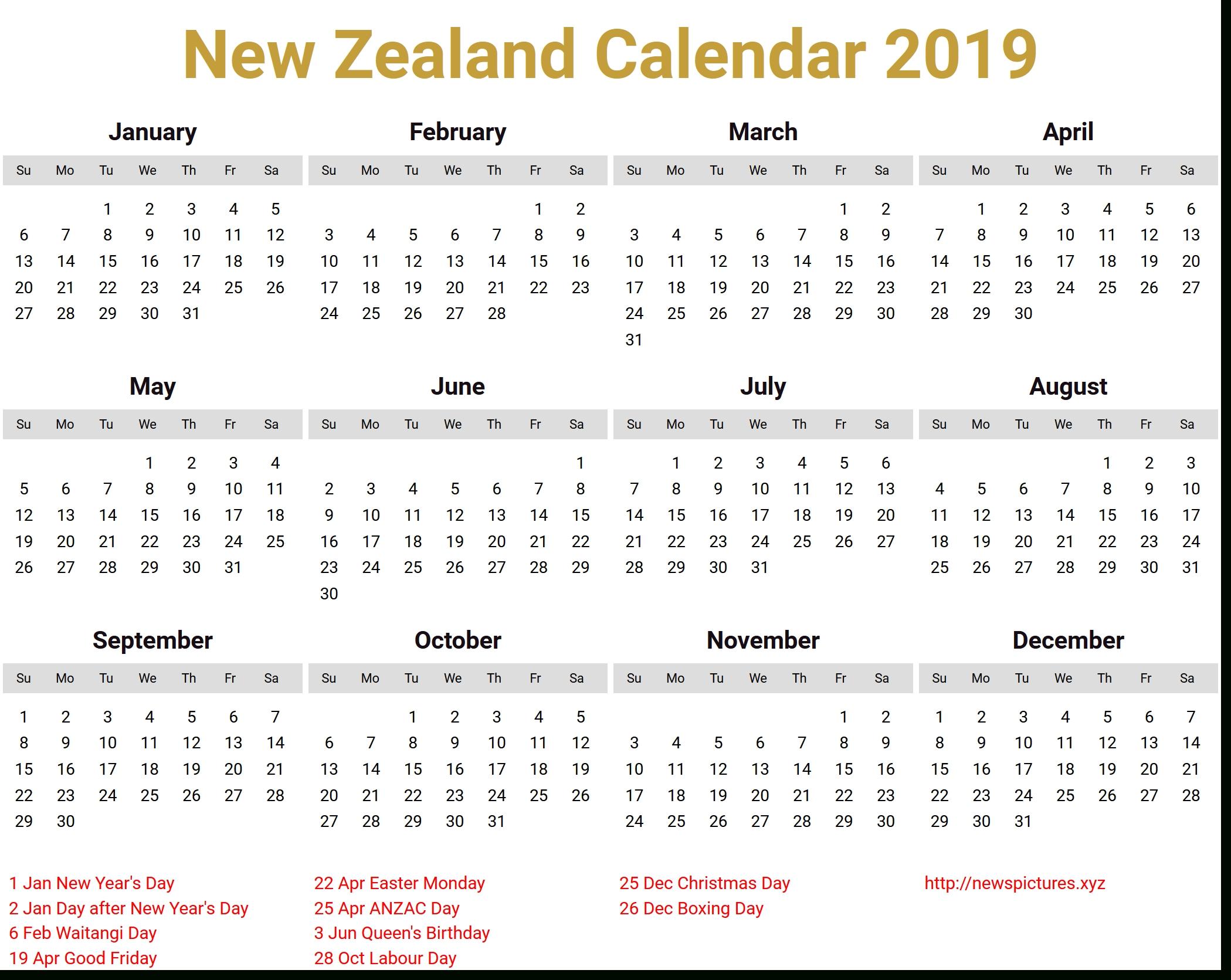 Image For New Zealand Calendar 2019 Download | Bear-Six Monthly New Zealand Calendars
