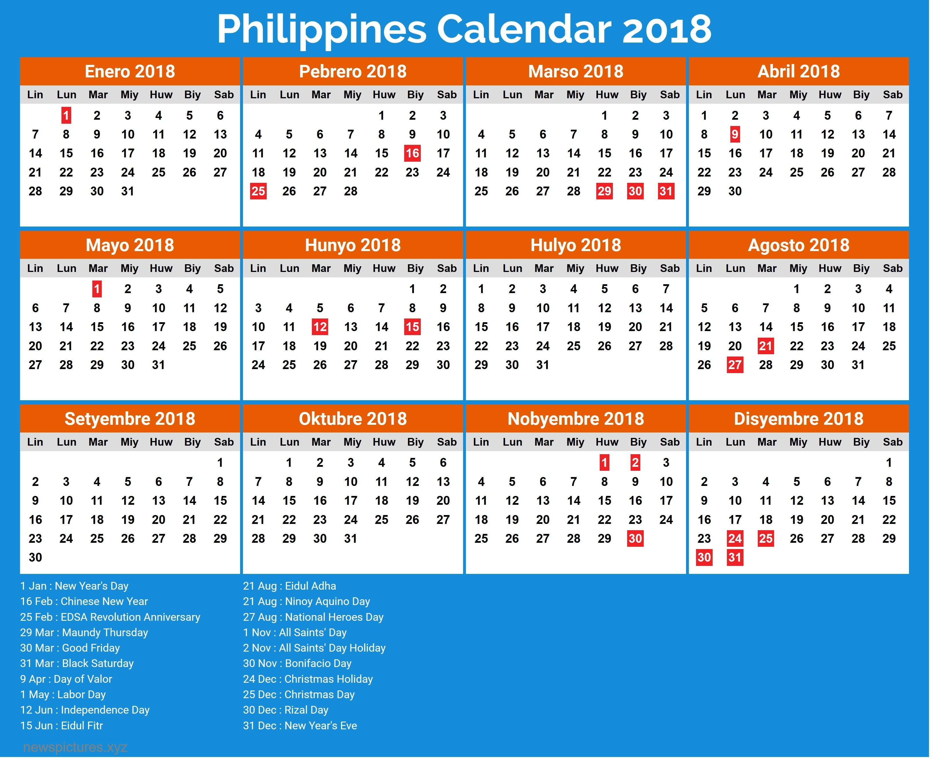 Image Result For Philippine Calendar 2019 With Holidays-Holidays In Philippines Printable