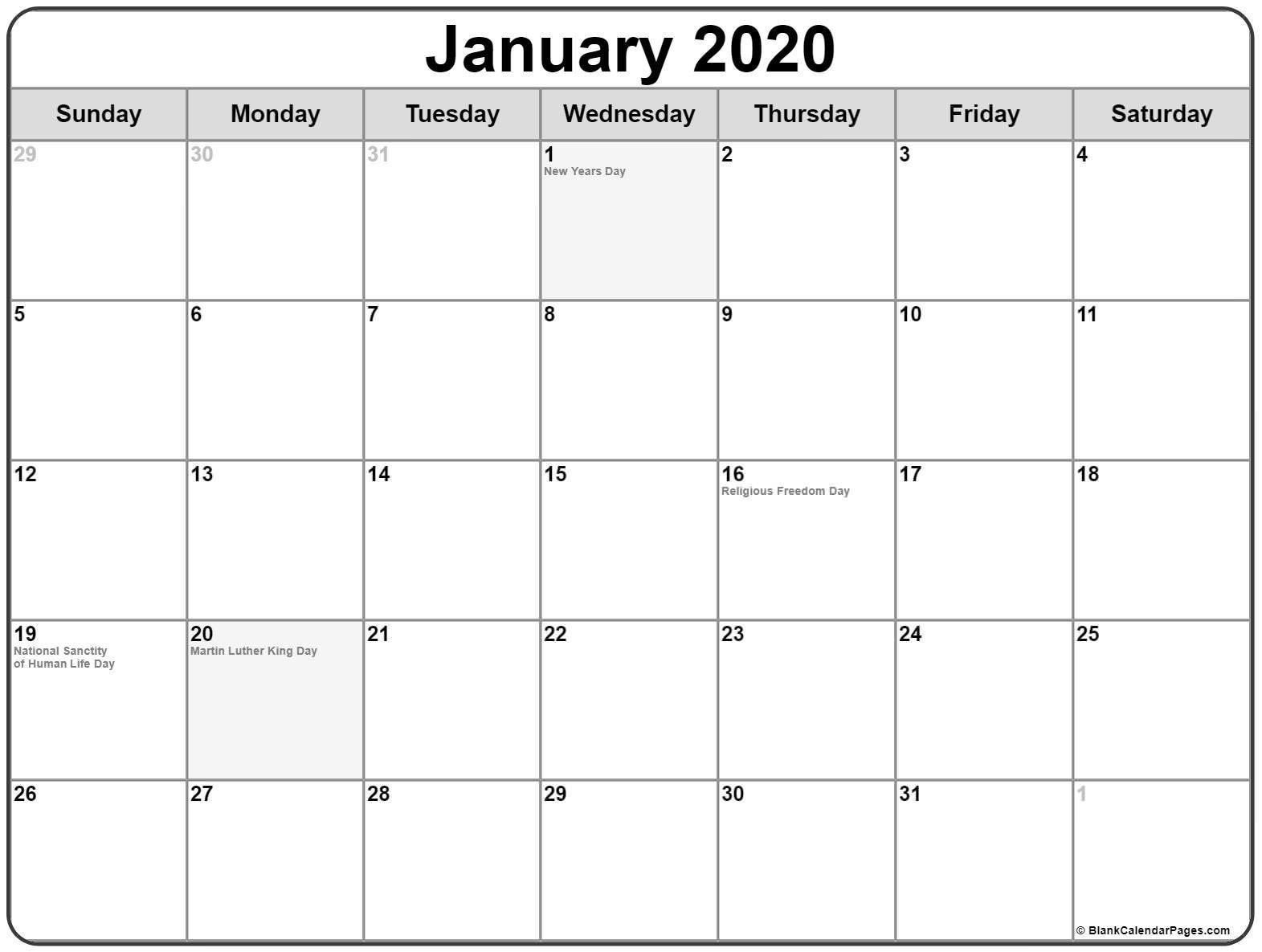 Impressive 2020 Calendar With Holidays Usa • Printable Blank-January 2020 Calendar Holidays