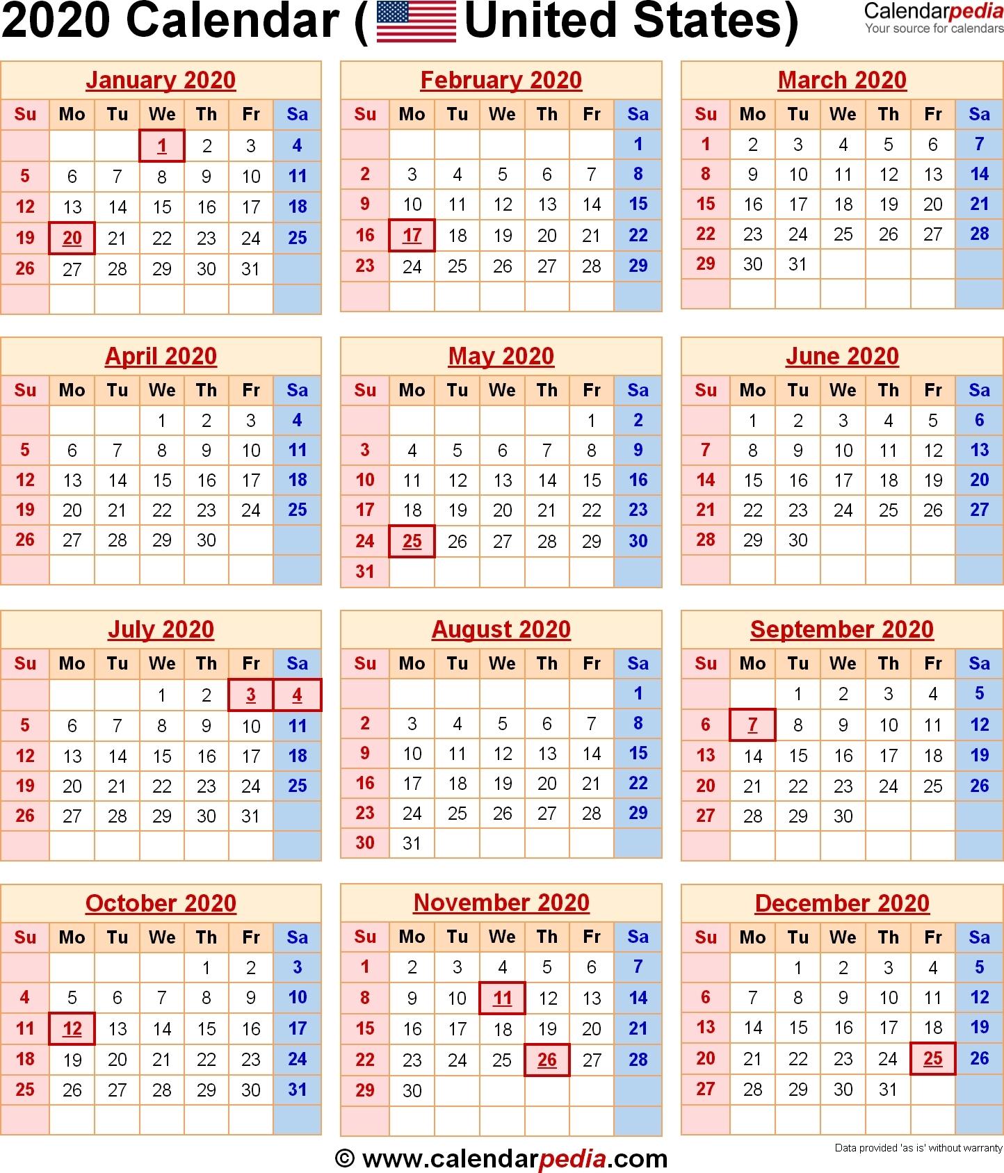 Incredible 2020 Holiday Calendar Us • Printable Blank-Calendar 2020 Holidays Us