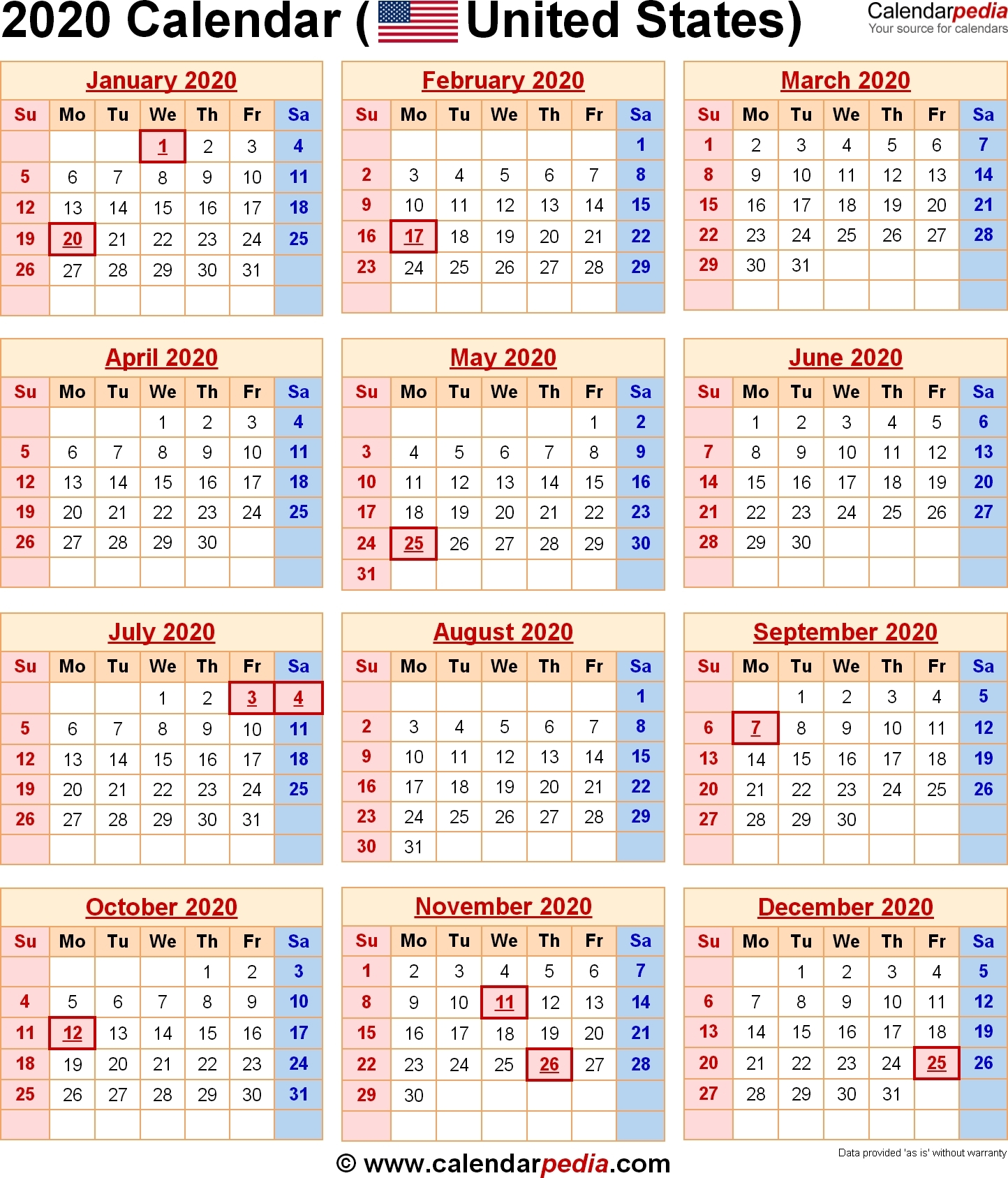Incredible 2020 Holiday Calendar Us • Printable Blank-Calendar Indicating The Holidays