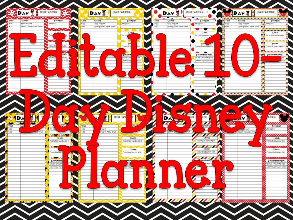 Instant Download Editable Disney Planner, Agenda, Itinerary-Editable Disney Template Itinerary