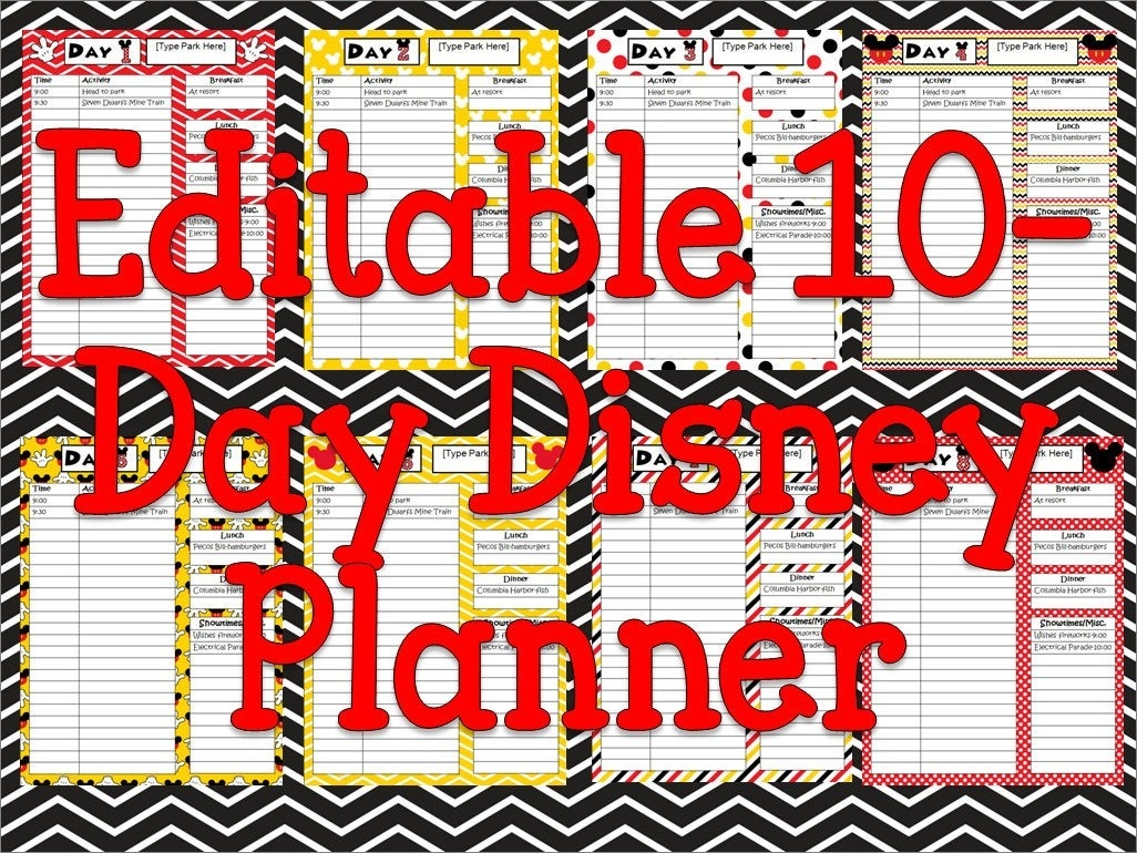 Instant Download Editable Disney Planner, Agenda, Itinerary-Fillable Itinerary Template Disney
