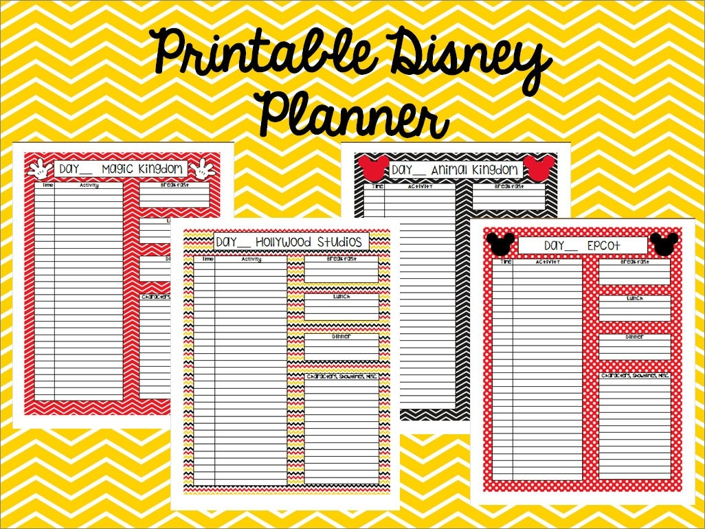 Instant Download Printable Disney Planner, Agenda, Itinerary-Editable Disney Template Itinerary