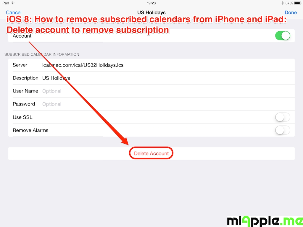 Ios: How To Remove Subscribed Calendars From Iphone And Ipad-Remove Holidays From My Google Calendar