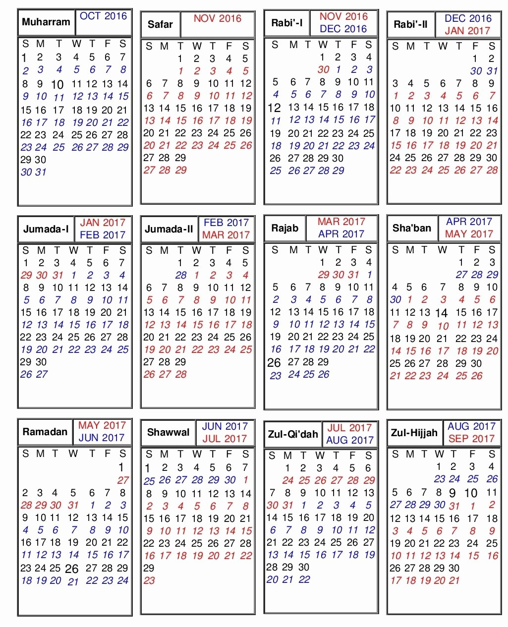 Islamic Calendar 2020-January 2020 Hijri Calendar