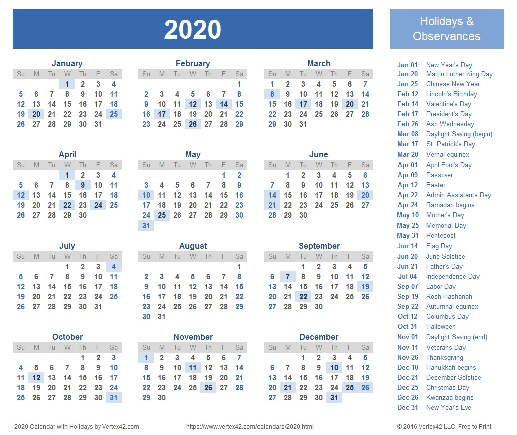 Islamic Calendar 2020 – Printable Week Calendar-2020 Islamic Calendar Holidays