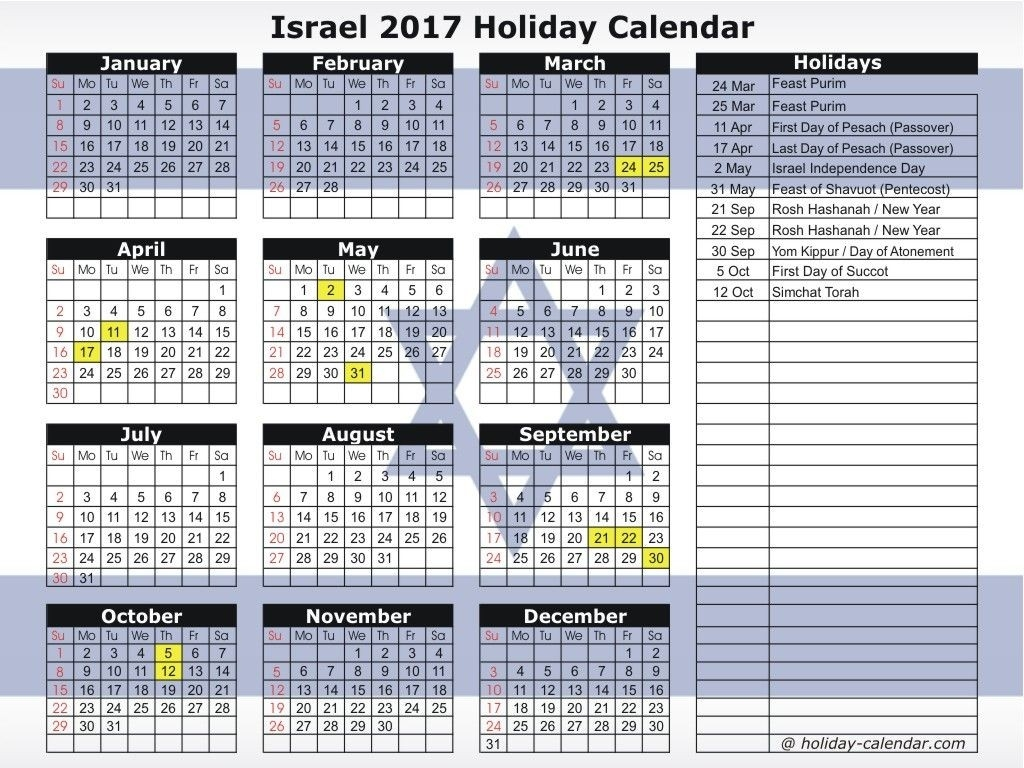 Israel 2017 Holiday Calendar | Hebrew Israel Jewish-2020 Jewish Calendar With Holidays