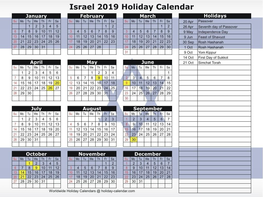 Israel 2019 / 2020 Holiday Calendar-2020 Calendar With Jewish Holidays Pdf