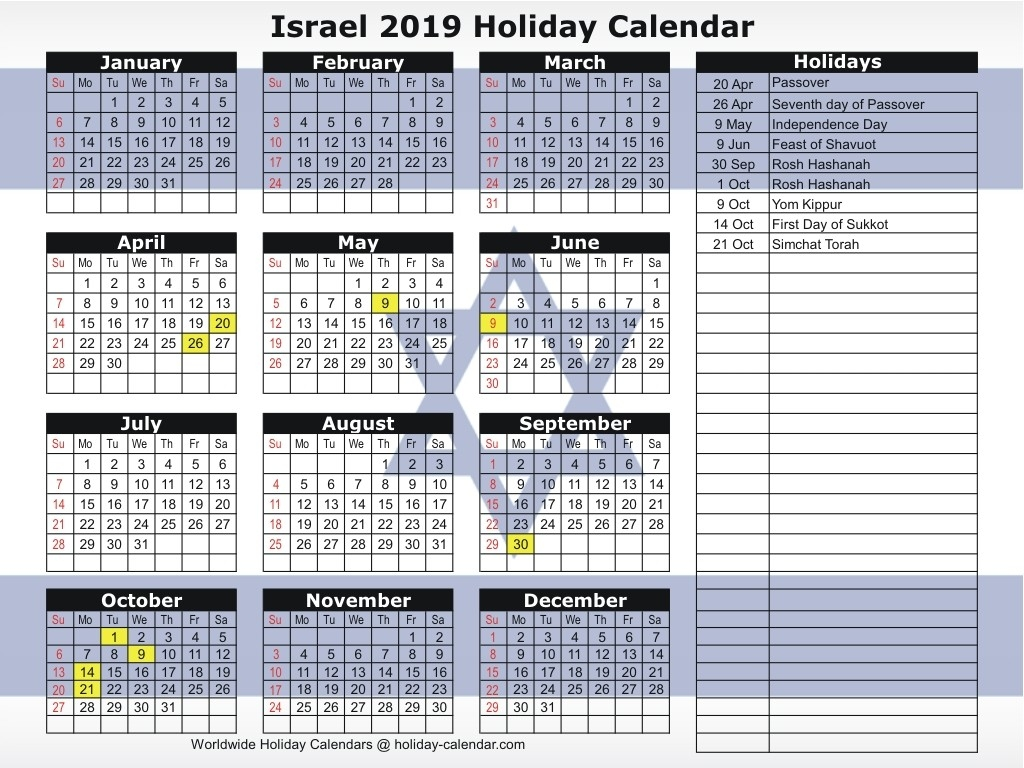 Israel 2019 / 2020 Holiday Calendar-Calendar With Jewish Holidays 2020
