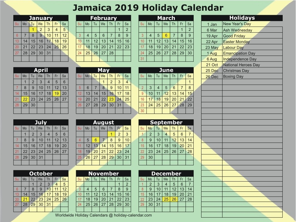 Jamaica 2019 / 2020 Holiday Calendar-Jamaica Public Holidays 2020 Printable
