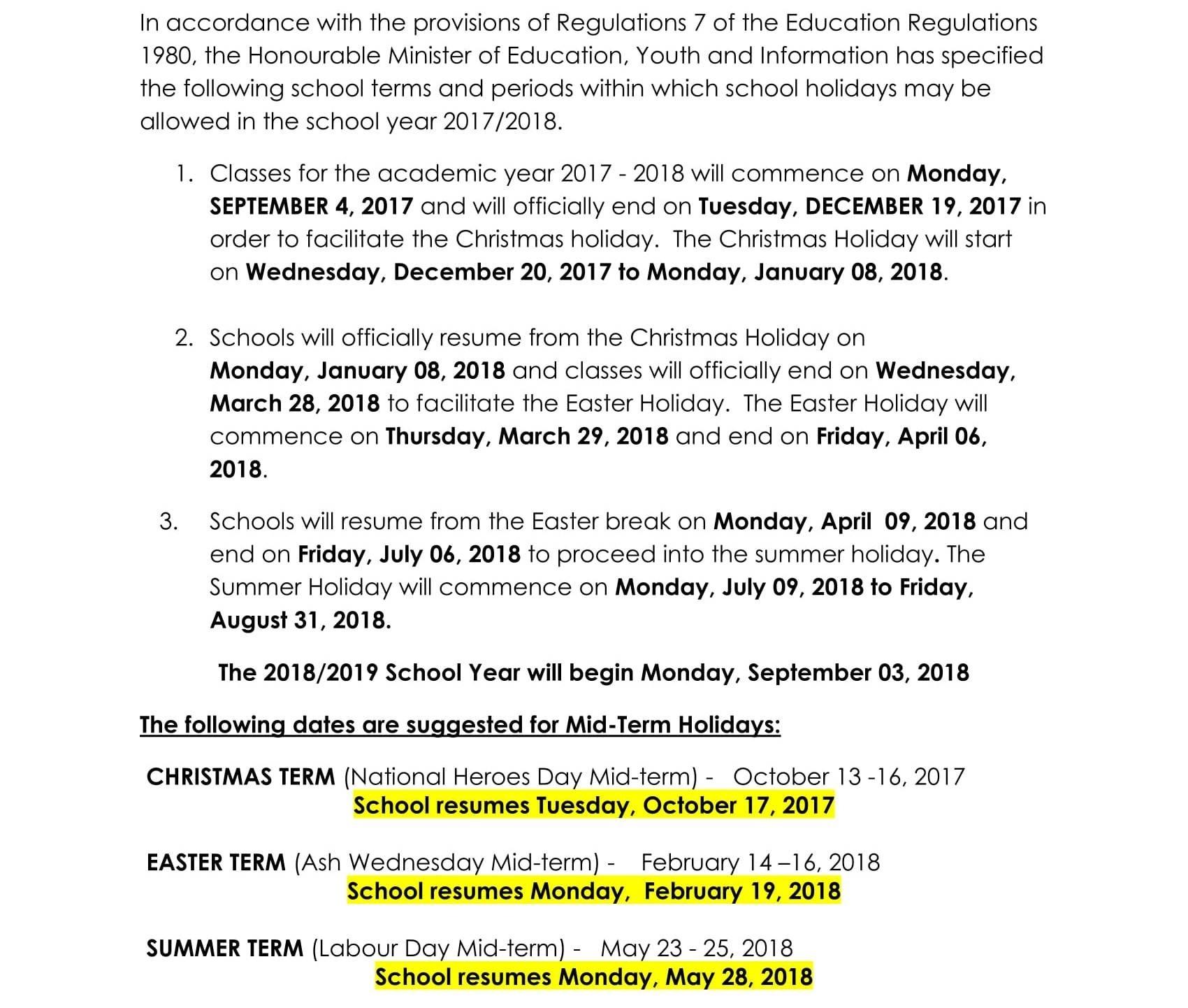 Jamaica Calendar Of School Terms & Holidays For The Academic-Jamaica Public Holidays 2020 Printable