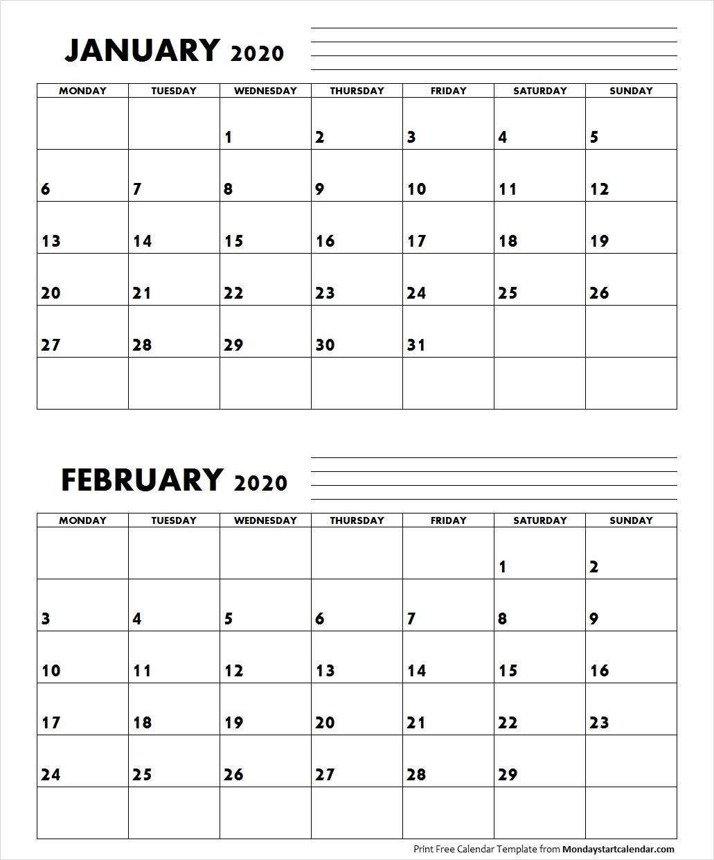 Jan Feb 2020 Calendar Monday Start | Editable Two Months-January And Feb 2020 Calendar