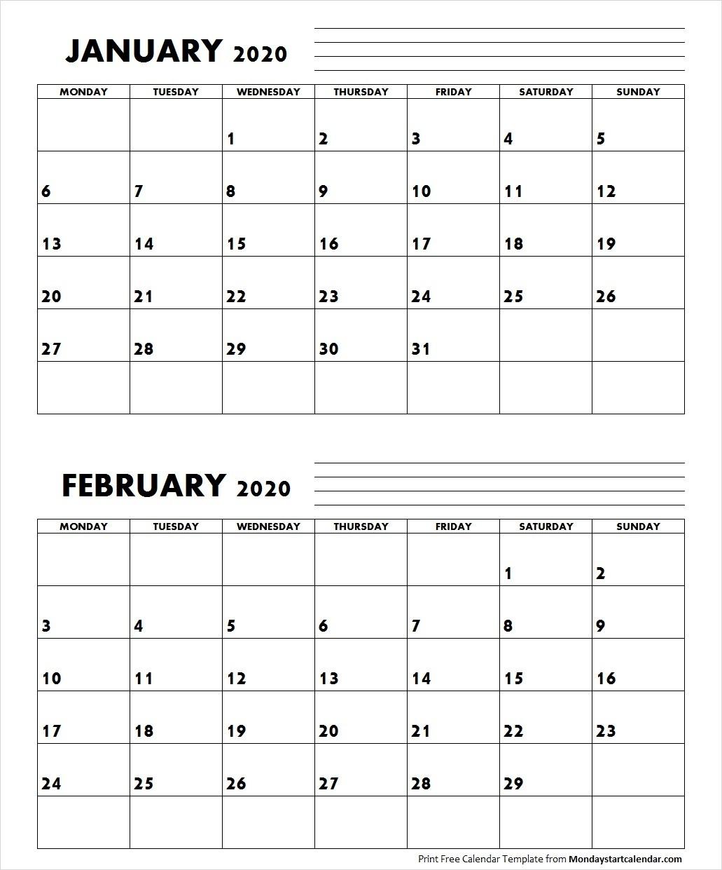 Jan Feb 2020 Calendar Monday Start | Editable Two Months-January And February 2020 Calendar