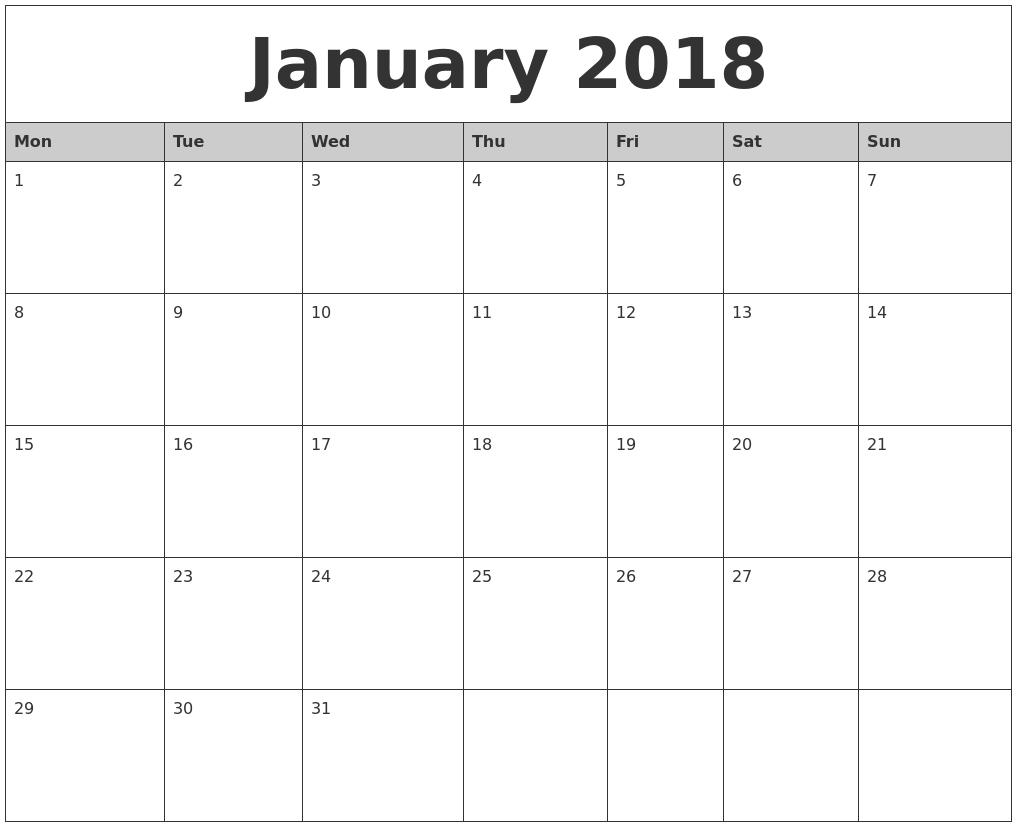January-2018-Monthly-Calendar-Printable-Monday-Start - Eco-Printable Monthly Calendar Starting On Monday
