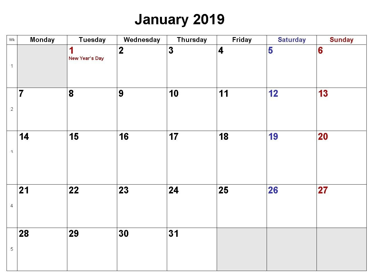 January 2019 Calendar Download In Word Excel Pdf Formats-Calendar Word 2020 Microsoft Word Monthly