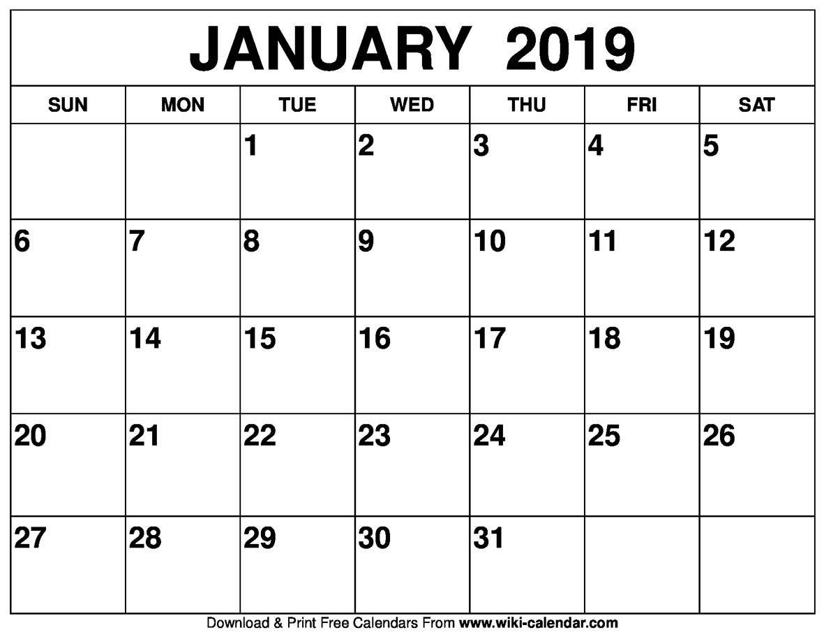 January 2019 Calendar #january2019Calendar #januarycalendar-January 2020 Calendar Wiki