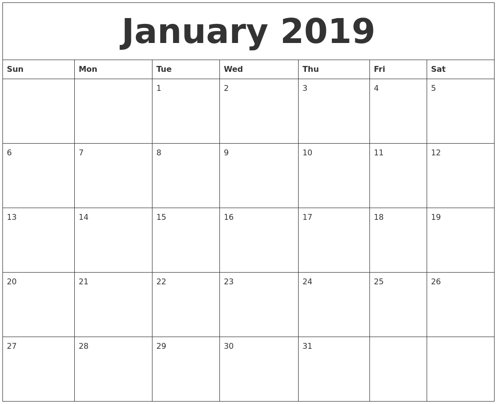 January 2019 Calendar Printable - Free Templates - Printable-Free Blank Calender Montly Starting On Monday