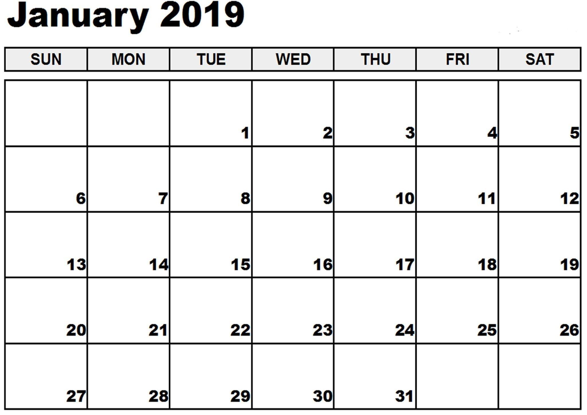 January 2019 Calendar South Africa Blank Template | 555 Free-Calendar Template South Africa