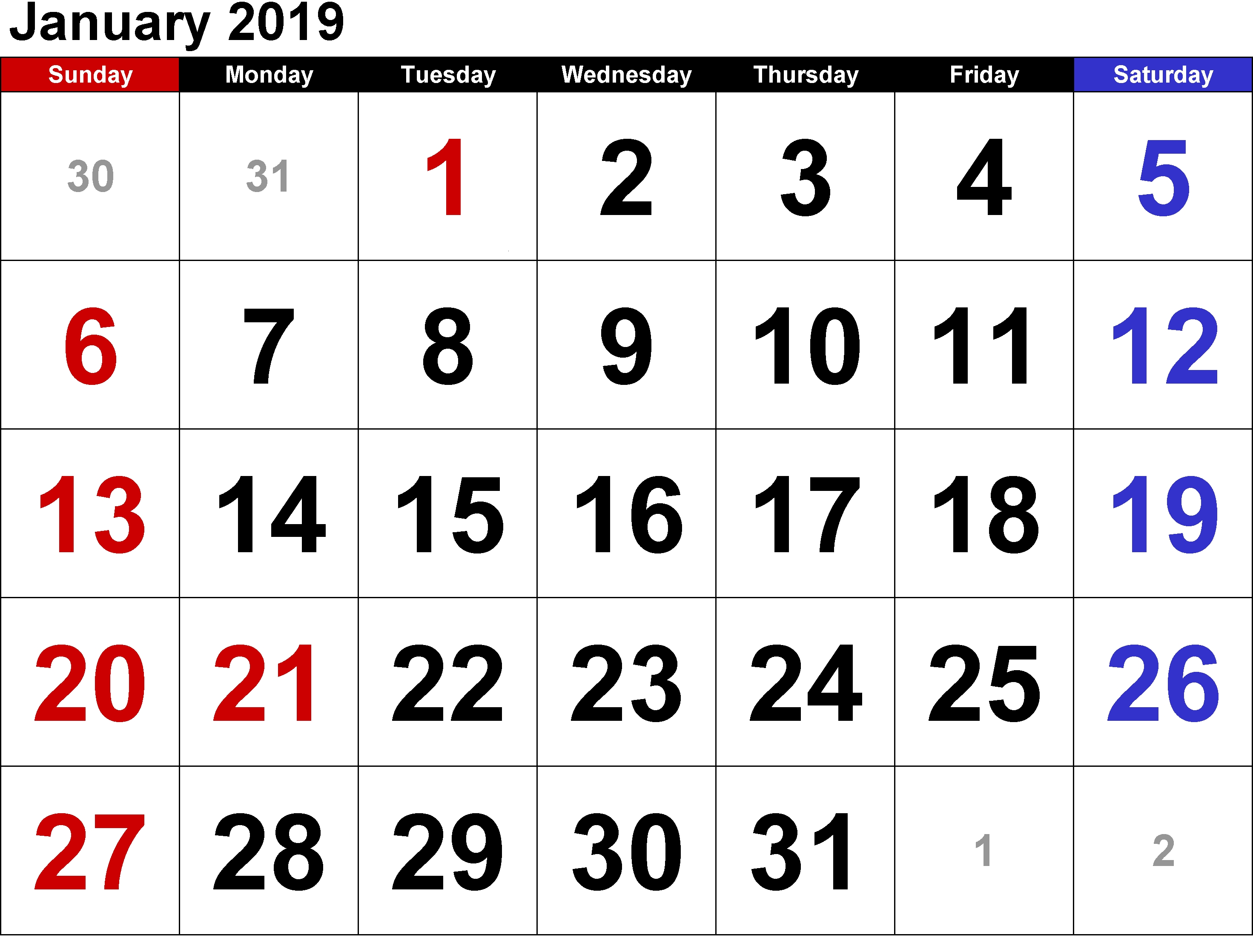January 2019 Calendar Template A4 Sheet Printout-January 2020 Calendar Philippines