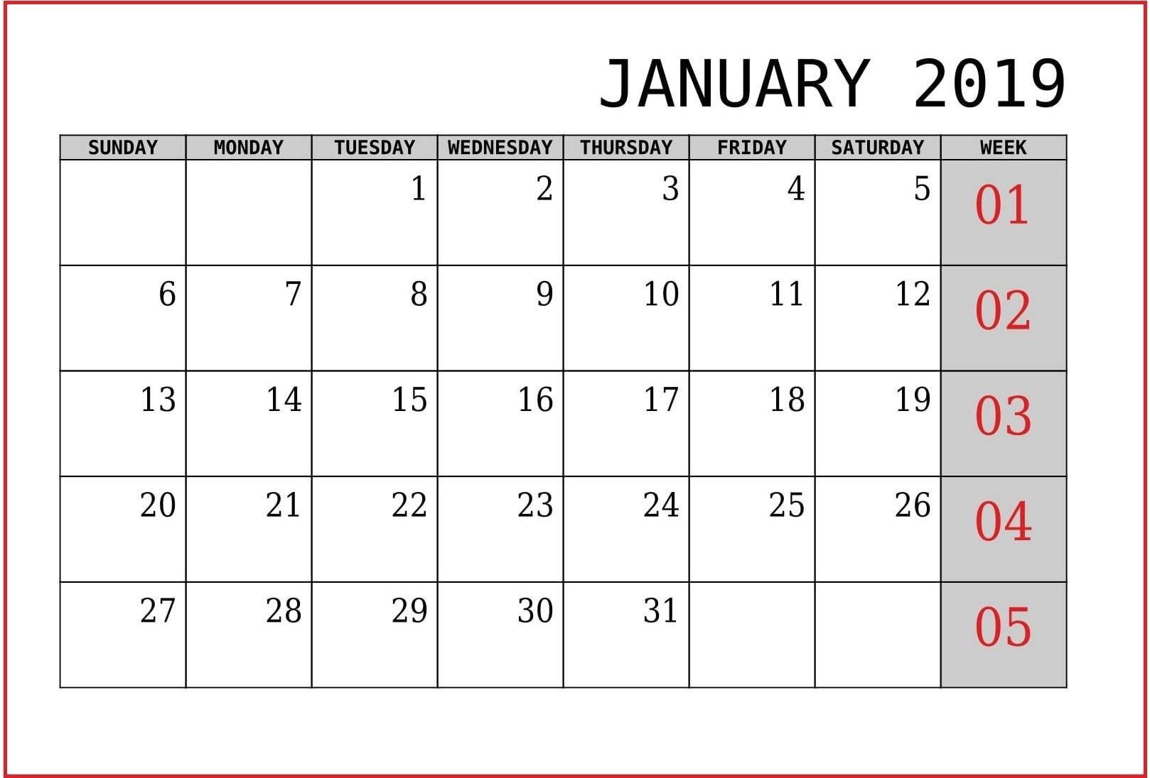 January 2019 Calendar Us Printable Templates With Holidays-Us Printable Blank Calendars