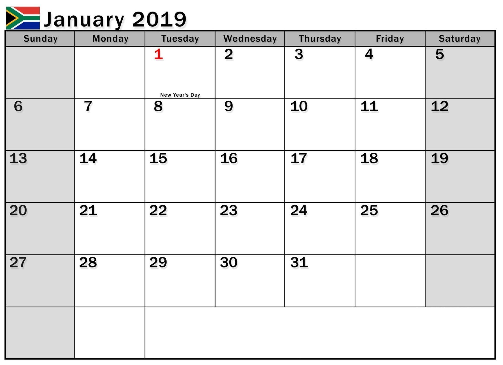 January 2019 Calendar With Holidays South Africa-Calendar Template South Africa