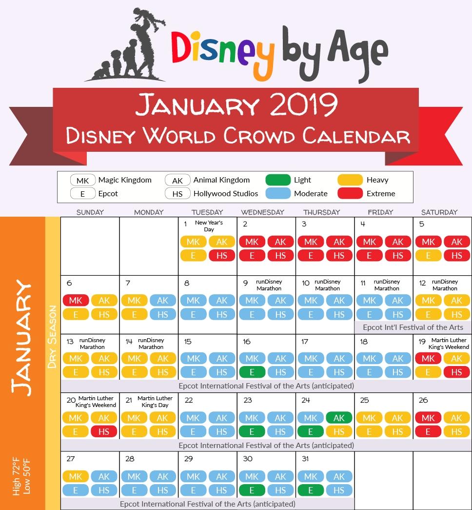 January 2019 Disney World Crowd Calendar | Disney Trip In-Disneyland Crowd Calendar January 2020