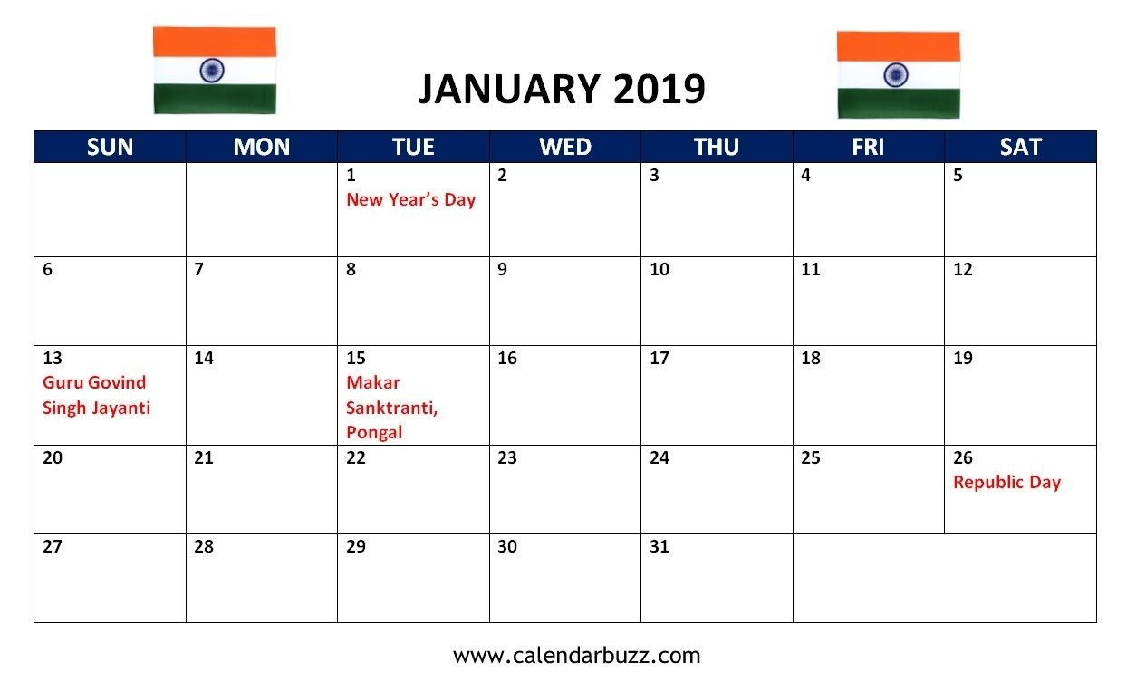 January 2019 India Holidays Calendar | 2019 Calendars-January 2020 Calendar Pongal