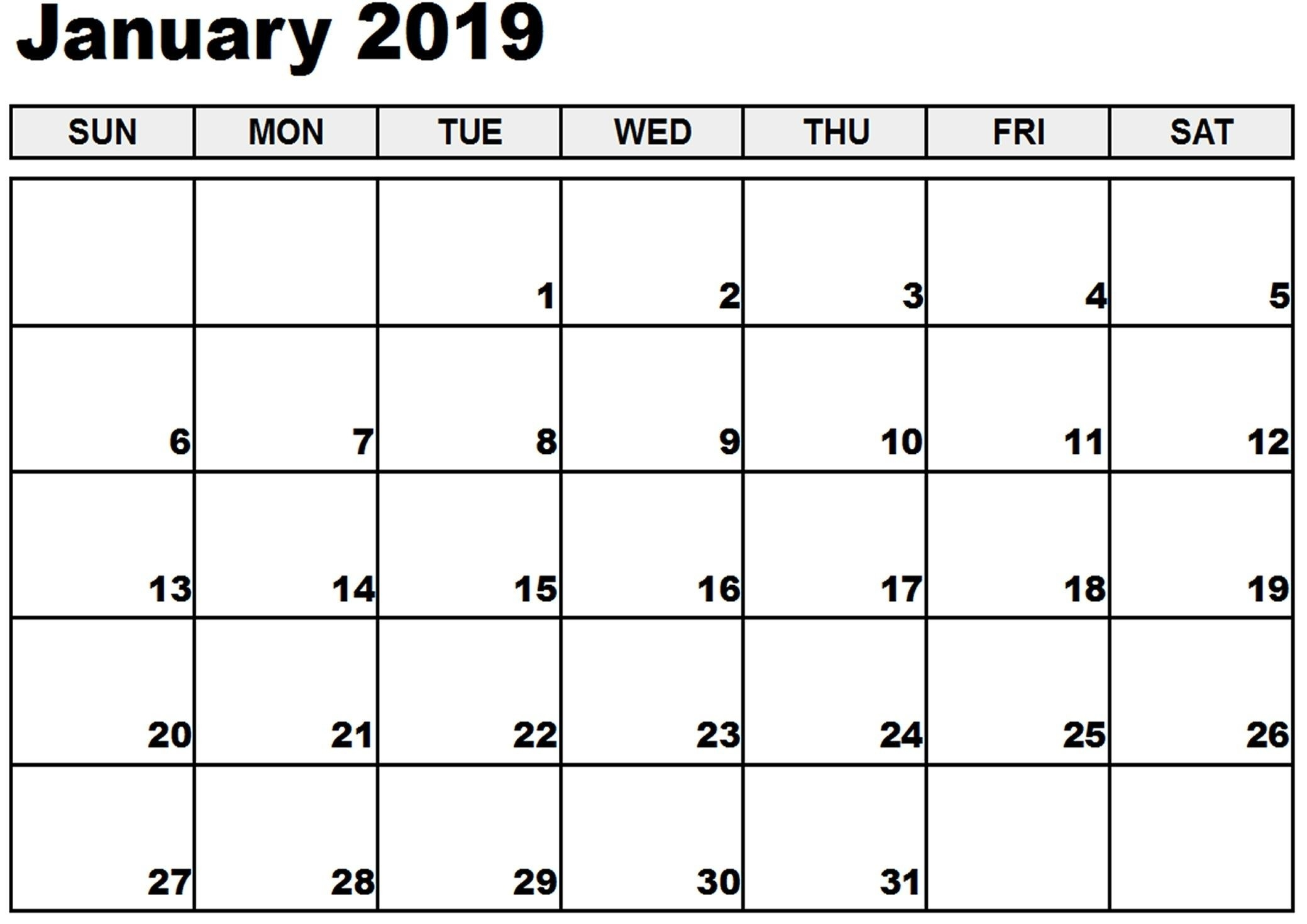 January 2019 Printable Calendar January 2019 Calendar-Blank Month Caledar Uk