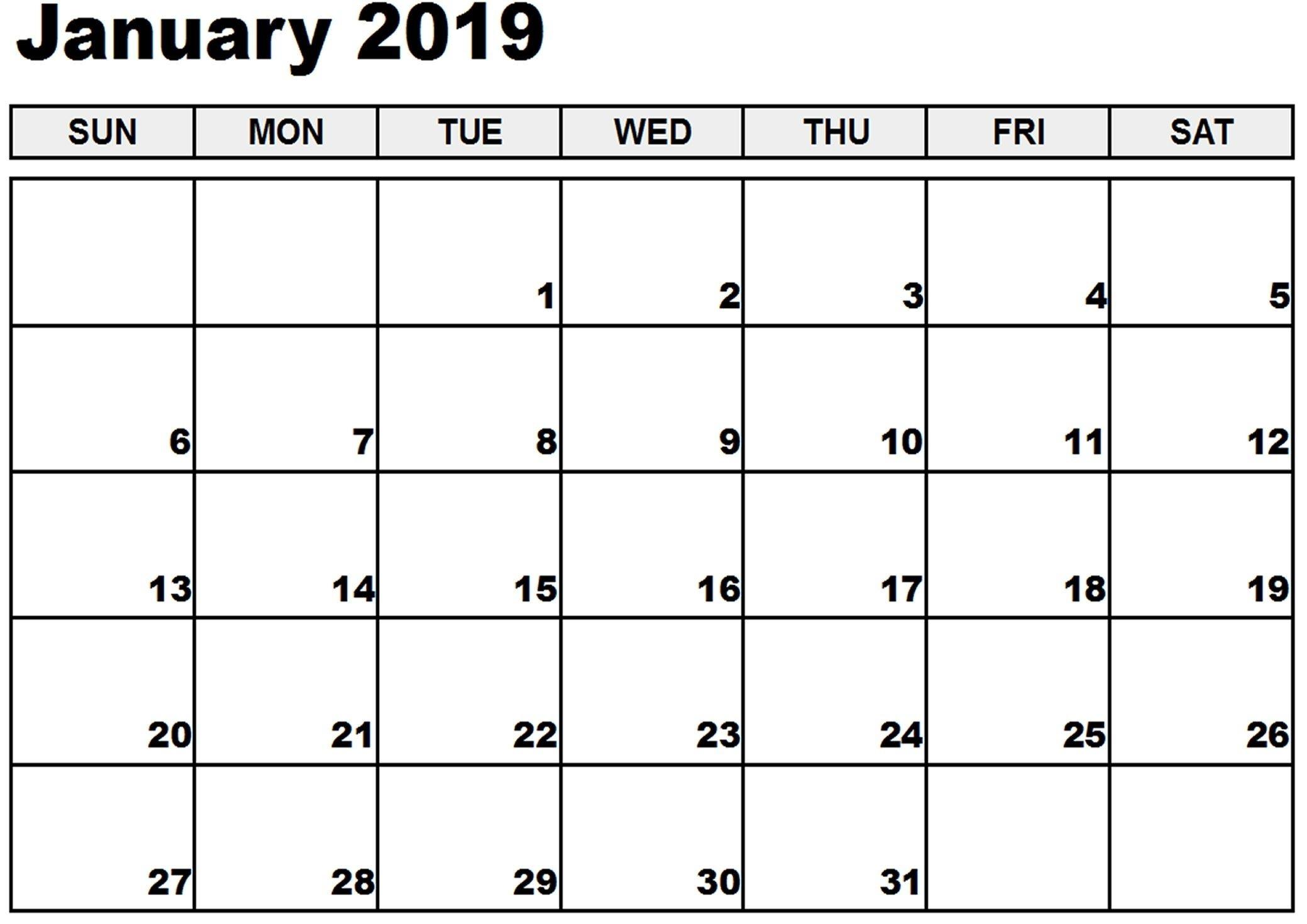 January 2019 Printable Calendar January 2019 Calendar-Monthly Calendar Uk Printable