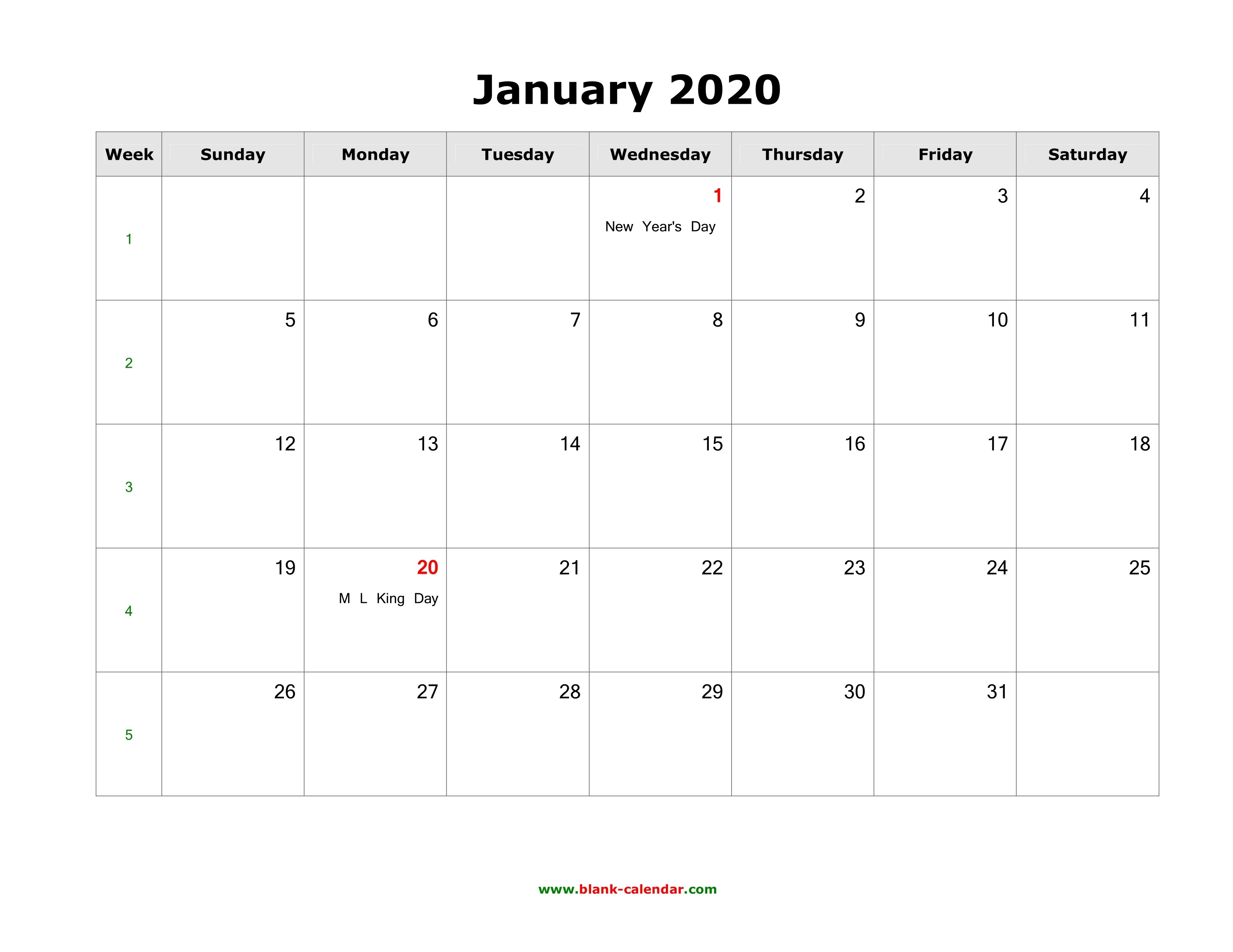 January 2020 Blank Calendar | Free Download Calendar Templates-January 2020 Fillable Calendar