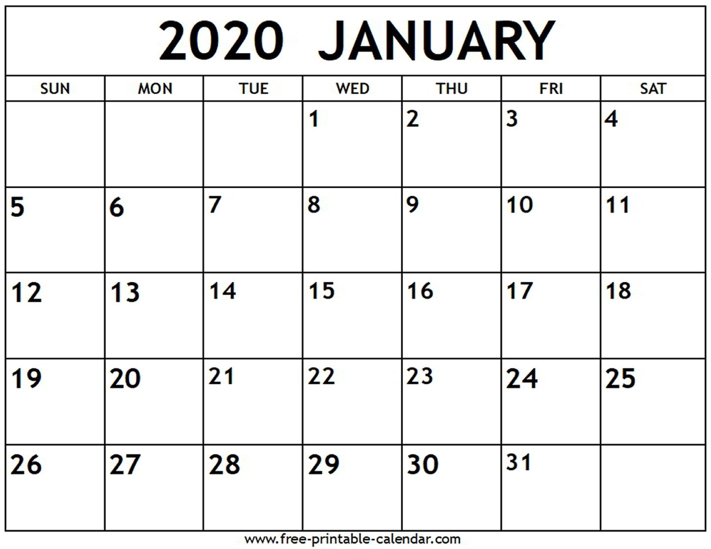 January 2020 Calendar - Free-Printable-Calendar-January 2020 Calendar Dates