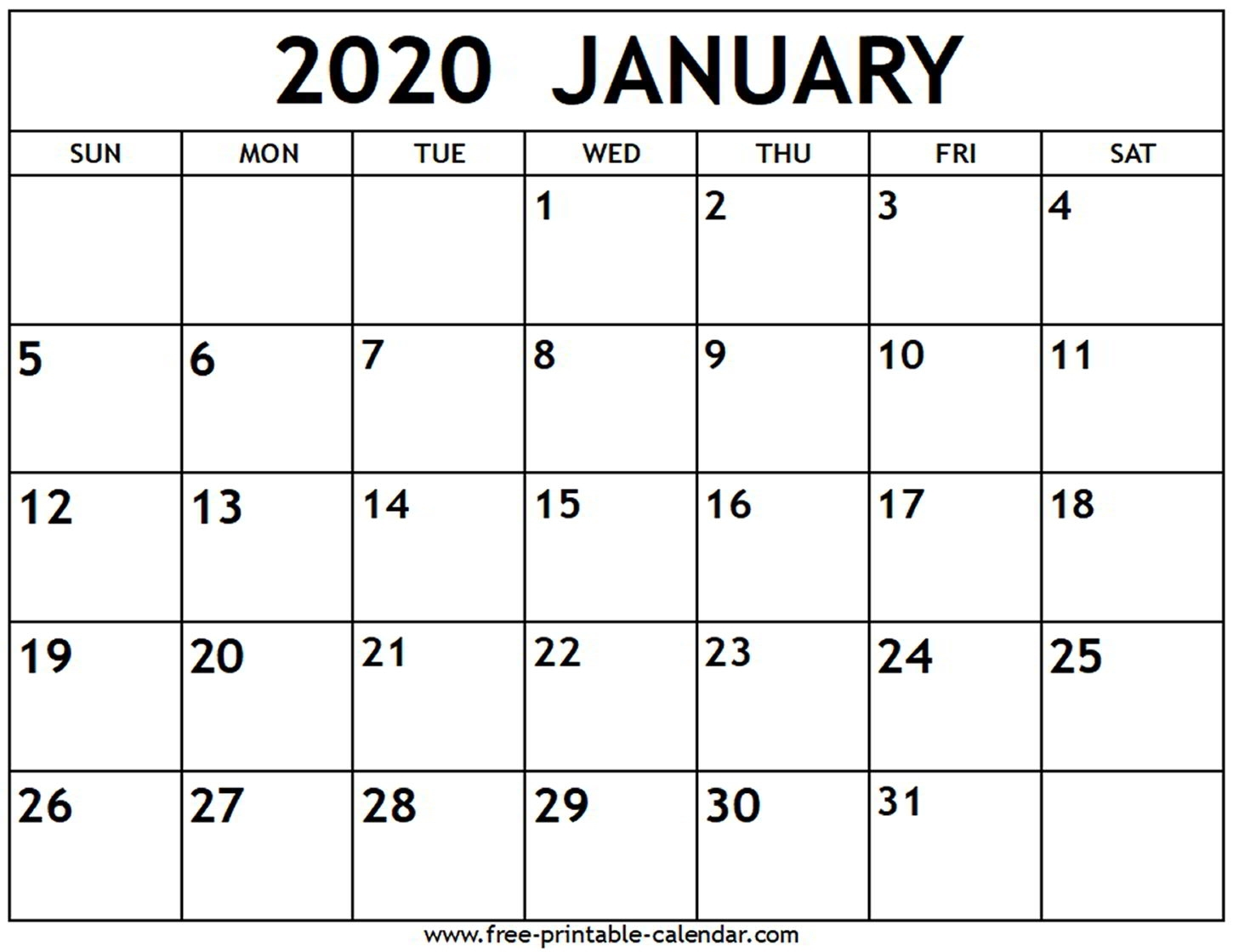 January 2020 Calendar - Free-Printable-Calendar-January 2020 Us Calendar