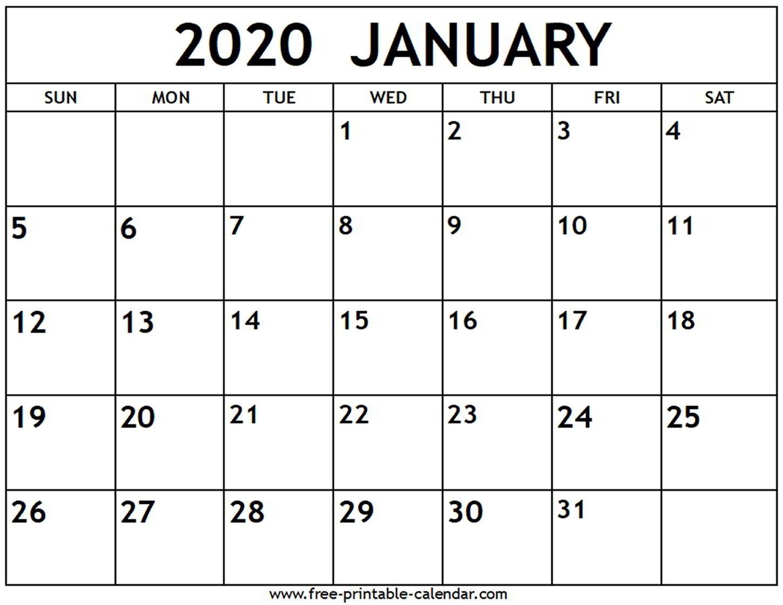 January 2020 Calendar - Free-Printable-Calendar-Printable Monthly Calendar January 2020